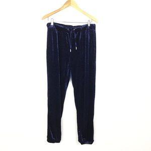 Zara blue velvet elastic drawstring joggers L